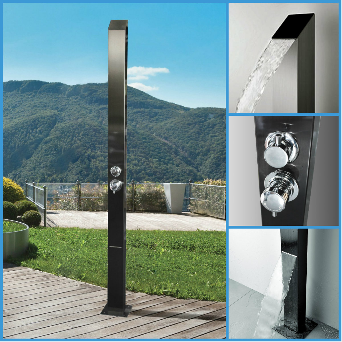 316 Marine Grade Stainless Steel Massage Outdoor Shower Panel Swimming Pool Backyard Bathroom Hot /& Cold Rainfall Hand Held Wall Mounted or Free Standing Outside Shower MILAN MK II